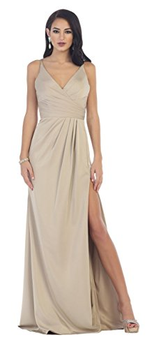 US Fairytailes Shoulder Strap Pleated Chiffon Dress #1469 (8, Taupe) -