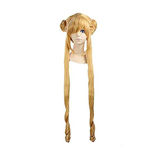 Adult Women Girls Long Golden Blonde Sailor Moon Sailormoon Braided Cosplay Costume Hair Wigs -