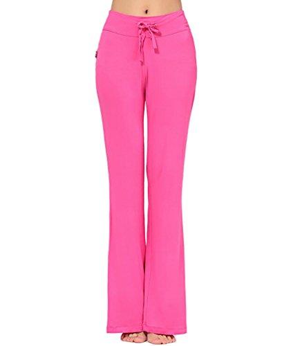 Baymate Suave Harén Pantalones Largo Gimnasio Yoga Pantalón de Mujer Rose
