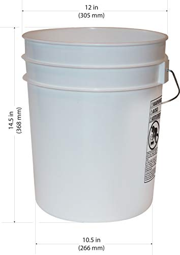 5 Gallon Heavy Duty White Plastic Bucket, 10-Pack - Argee RG5700/10 by Argee (Image #1)