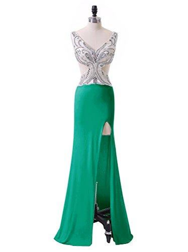 Vickyben Damen langes Meerjungfrau Split Perlen Chiffon Abendkleider ...