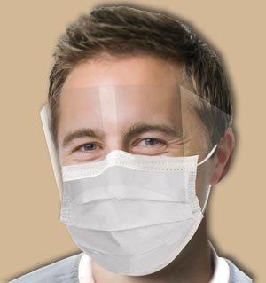 Crosstex International GCPW Crosstex Ultra No-Fog Earloop Mask With Splash Visor