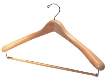 Deluxe Solid USA Maple Suit Hanger with Locking Trouser bar - Box of - Center Beverly Map