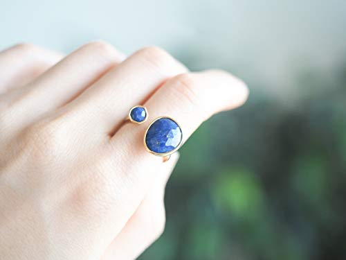 Double Stone Blue Lapis Lazuli Open Circle Gold Plated Brass Ring