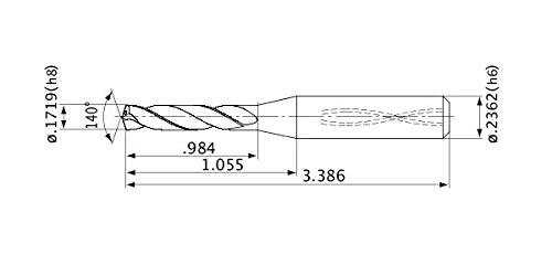 6 mm Shank Diameter Mitsubishi Materials MVS0437X03S060 Series MVS Solid Carbide Drill Internal Coolant 3 Hole Depth 0.8 mm Point Length 4.366 mm Cutting Dia