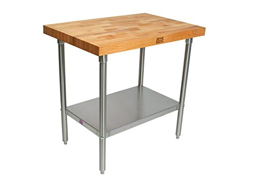 John Boos TNS09 Maple Top Work Table with Stainless Steel Base and Shelf, 60'' x 30'' x 2-1/4'' by John Boos