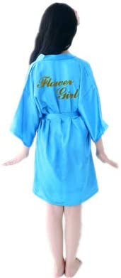 Sommer Kinder Robe Mädchen Kimono Kleid Knielang Dünne Nachtwäsche Kinder Nachtwäsche Bad Robe Baby Bademantel Kleid-sky blue2-M