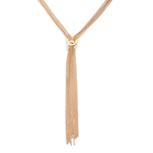 UHIBROS Ring And Chain Alloy Infinite Symbols Tassel Necklace Silver Gold Plated Pendant Long Chain Necklace For Women Gifts