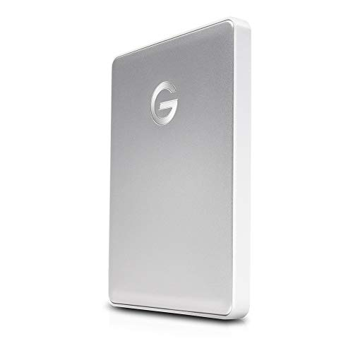 G-Technology 2TB G-DRIVE Mobile USB-C (USB 3.1 Gen 1) Portable External Hard Drive, Silver - 0G10339