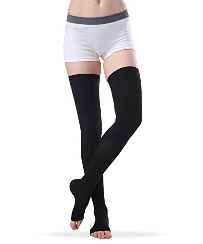 Women's Thigh High Open Toe Compression Stockings, Firm Support 20-30 mmHg Medical Gradient Toeless Thigh High Compression Socks with Non-slip Silicone Band (Black, X-Large) by SWOLF (Image #7)