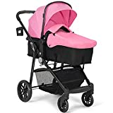 BABY JOY Baby Stroller, 2 in 1 Convertible Carriage Bassinet to Stroller, Pushchair with Foot Cover, Cup Holder, Large Storage Space, Wheels Suspension, 5-Point Harness (Pink)