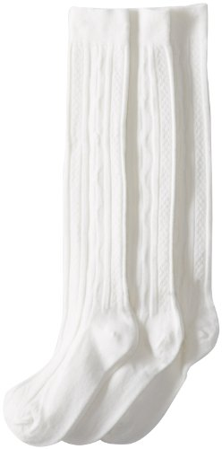 Jefferies Socks Big Girls'  School Uniform Acrylic Cable Knee High  (Pack of 3), White, Large