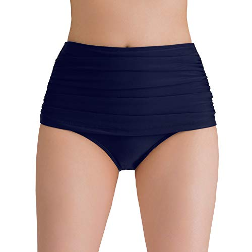 Women's Swim Bottoms Tummy Control Plus Size High Waist Swimuit Bathing Suit Bikini Tankini Briefs Navy Blue