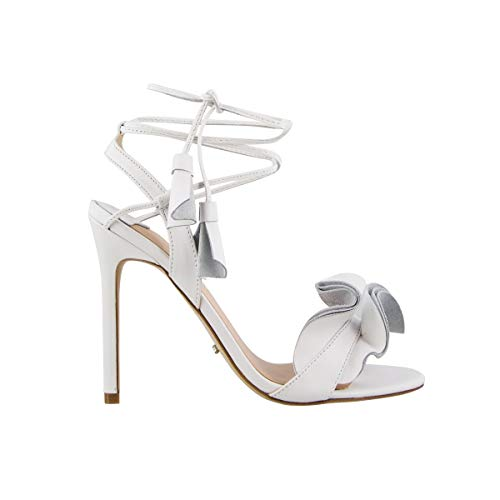 Tony Bianco Kalipso Heeled Sandals Slender Stiletto Heel Wrap-Around Self-Tied Straps (5.5 B(M) US, White (Bianca Footwear)