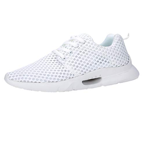 TnaIolral Men Sneakers Summer Mesh Breathable Non-Slip Lace-Up Wear-Resistant Shoes (US:7, White)