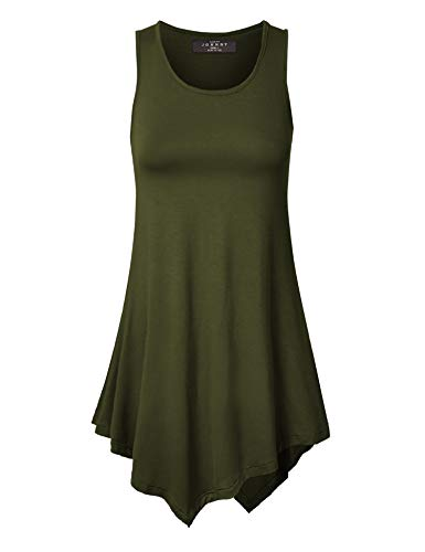 (Made By Johnny MBJ WT671 Womens Handkerchief Hem Tank Tunic Top XL Olive)
