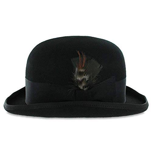 Belfry Tammany - Satin Lined 100% Wool Derby Hat Black (Large) (Mens Haircut 2 On Sides 3 On Top)