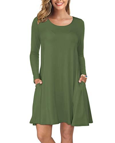 KORSIS Women's Long Sleeve Tops T-Shirt Dress Round Neck Casual Loose Dress