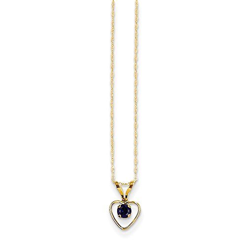 3 Mm Sapphire Heart - Best Birthday Gift 14k Madi K 3mm Sapphire Heart Birthstone Necklace