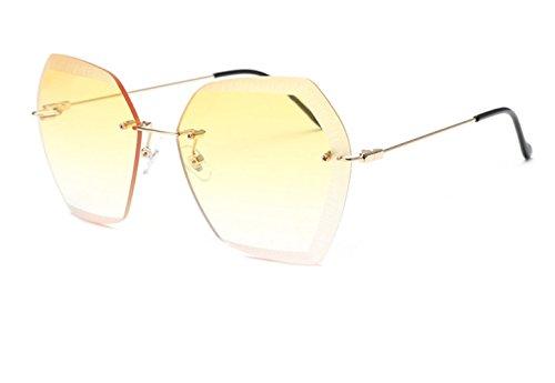 CL Fashion Retro Vintage Frameless Cut-Edge Irregular Polygon Sunglasses Ocean Glasses (Light - Bans Womens Uk Ray
