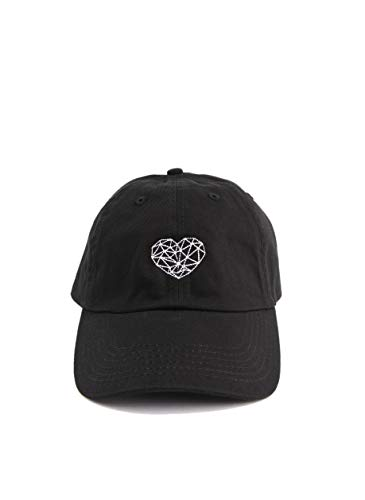 (Geometry Heart Baseball Cap Embroidered Dad Hat Unstructured Low Profile Adjustable Strap Back (Black))