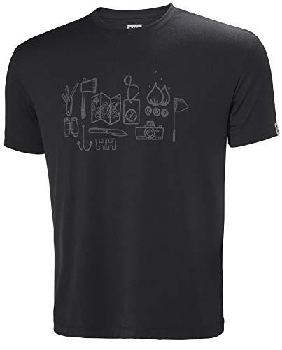 Helly Hansen Mens Skog Graphic T-Shirt - Ebony, - Graphic Ebony