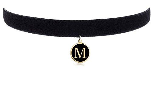 Cozylife 3/8 Girls Black Velvet Choker Necklace with 26 Letter Pendant (M)