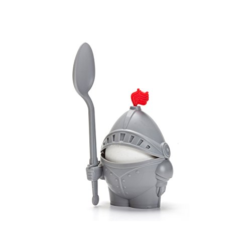 PELEG DESIGN Arthur Soft and Hard Boiled Egg Cup Holder with Spoon Included, Knight Design Egg Holder, Kitchen Utensil Decor