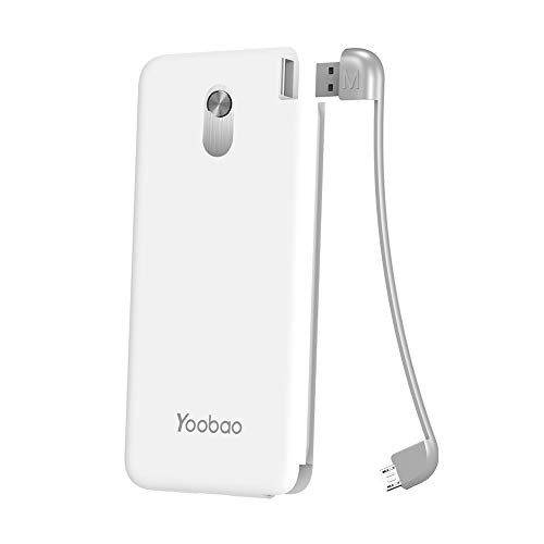 Yoobao Slim Portable Charger, 10000mAh Power Bank External Battery Pack Cell Phone Backup Charger with Built-in Micro Cable Compatible Android, Samsung Galaxy S7/S7 Edge, HTC, Nokia, LG & More - White