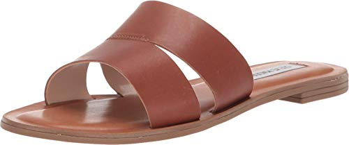 Steve Madden Women's Alexandra Flat Sandals Cognac Leather 7 M US