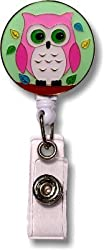 Enamel Owl Retractable Badge Holder