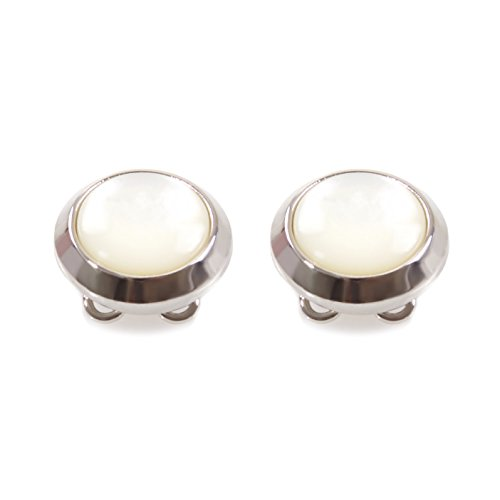 Classic Button Cufflinks - White Stone Button Covers - The Only Cufflinks for Shirts with Buttons (CS-05 US)