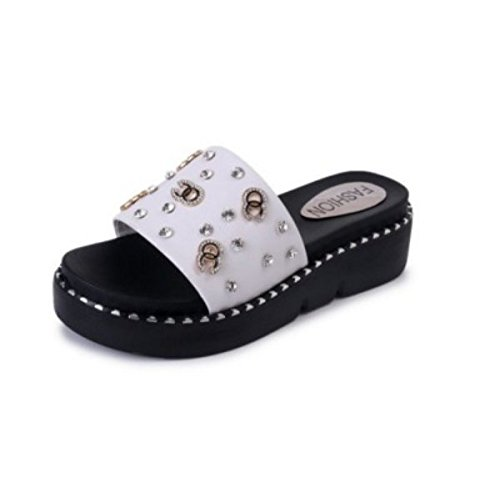 AJUNR Moda/elegante/Transpirable/Sandalias con 5cm de espesor bizcocho zapatos arrastrar y soltar remaches perforación de agua zapatillas blanco 38 37