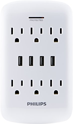 PHILIPS USB Wall Charger, Surge Protector, 6 Grounded Outlets, 4 USB Ports, 4.2AMP, 21Watt, 900 Joules, Charging Station, White, SPP6463WG/37 -