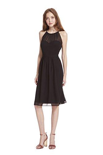Samantha Paige Spaghetti Halter Chiffon Cocktail Dress With Illusion Detail,Black,8 - Black Chiffon Cocktail Dress