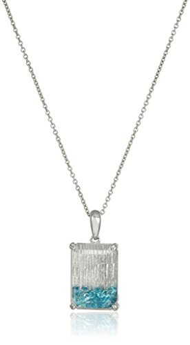 Sterling Silver Created White Sapphire and Multi-Colored Crystal Octagon Pendant Necklace, 18