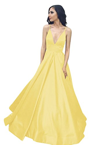 Spaghetti Gown VinBridal Ball Long Dresses with Yellow Pockets Straps Prom Satin xXaFXnO
