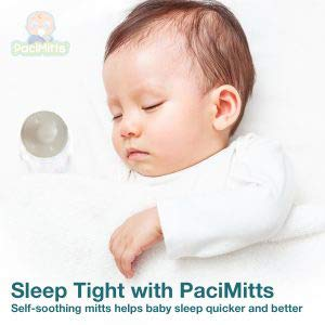 Woombie PaciMitts with Attached Pacifier Helps Soothe Baby and Relieve Sore Gums While Anti Scratch Mittens Protect from Scratching (Pack of 2) (Gray)