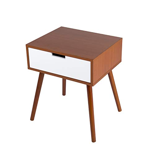 Kinbor Side End Table Nightstand Bedroom Living Room Table Cabinet with Drawer Storage Mid-Century Accent Wood Furniture