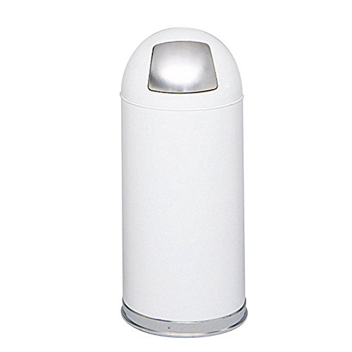 (Safco Products Safco Push Door Dome Top Trash Can 9636WH, White, Stainless Steel Push Door, Puncture Resistant Frame, Galvanized Steel Liner, 15 Gallon Capacity)