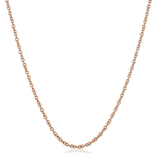 Kooljewelry 18k Rose Gold 1 mm Round Cable Adjustable Length Chain Necklace (22 inch max. Length)