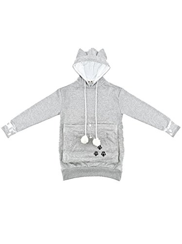 SAIANKE Womens Hoodies Pet Holder Cat Dog Kangaroo Pouch Carriers Pullover - Medium - Grey (Cat Woman Costume Ideas)