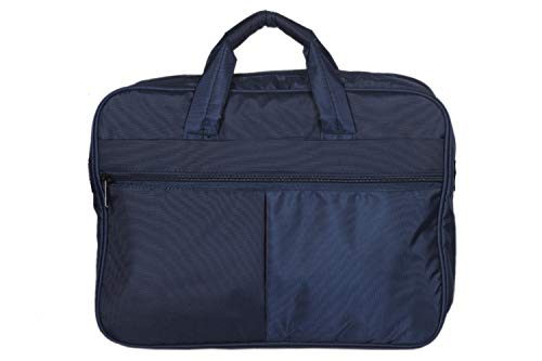 Halsey 15 inch Polyester Fabric Laptop Formal Office Messenger Briefcase Bag with Adjustable Shoulder Cross Body Sling for Men and Women (Unisex) (Navy Blue)