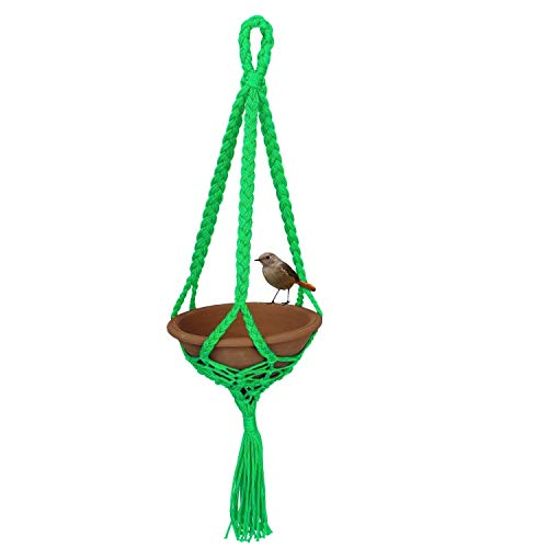 Foodie Puppies Clay and Plastic Bird Feeder Earthenware Bowl 500ml 21x21x80cm (Green)