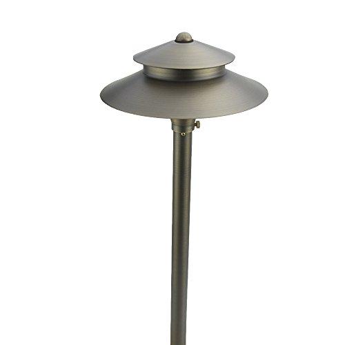 "VOLT Lighting Stratum 9"" Path & Area Light- Low-Voltage Solid Brass Two-Tier Landscape Light"
