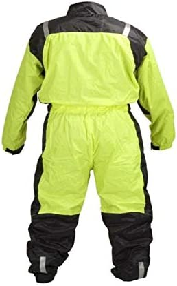 L MOTORCYCLE BIKER ONE PEICE RAIN SUIT YELLOW BLACK RN1-1