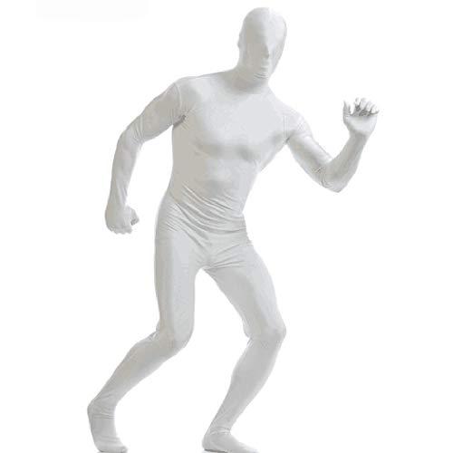 ALIKEEY Unisex Halloween Pure Color Jumpsuitsinvisible Cloak Stage Performance Vestir Blanco