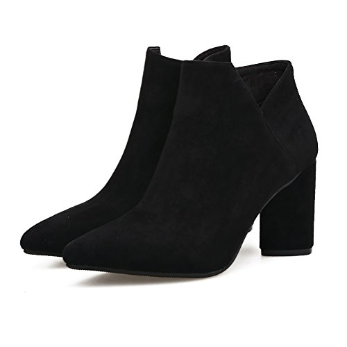 Meeshine Womens Suede Bootie Side Zip Chunky Low Heel Ankle Boots Black aRJybSoe