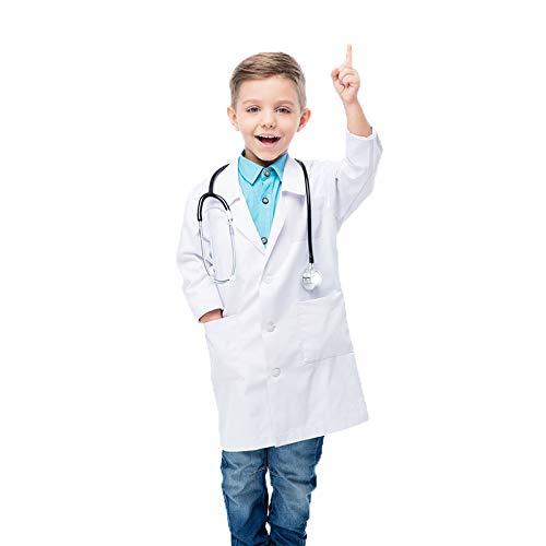 Waflyer Kinder Arztkittel Laborkittel Unisex Weiß Kostüm Chemie Baumwolle Schutzkleidung mit knöpfen und Tasche Junge Mädchen Langarm Laborkittel Medizin Mäntel Uniform für Arbeit, Studium,Labor-S