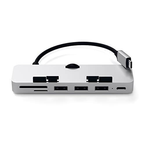 Satechi Aluminum Type-C Clamp Hub Pro with USB-C Data Port, 3 USB 3.0, Micro/SD Card Reader - Compatible with 2019/2017 iMac and iMac Pro (Silver)